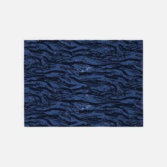 Blue Striped Camo 5'x7'Area Rug