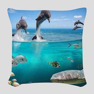 Marine Wildlife Woven Throw Pillow