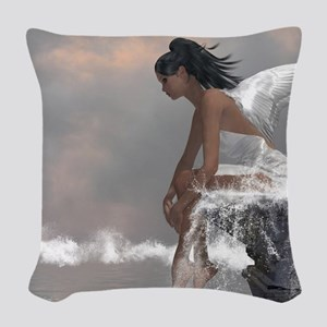 Water Angel Woven Throw Pillow
