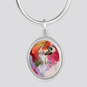 Hibiscus Butterflies Silver Oval Necklace