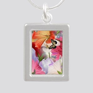 Hibiscus Butterflies Silver Portrait Necklace