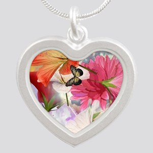 Hibiscus Butterflies Silver Heart Necklace