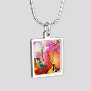 Hibiscus Butterflies Silver Square Necklace