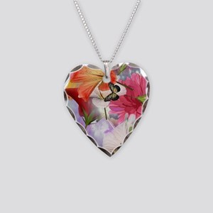 Hibiscus Butterflies Necklace Heart Charm