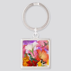 Hibiscus Butterflies Square Keychain