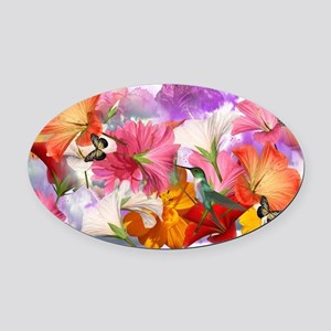 Hibiscus Butterflies Oval Car Magnet