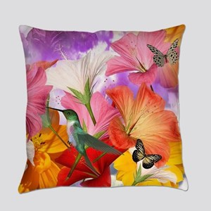 Hibiscus Butterflies Everyday Pillow