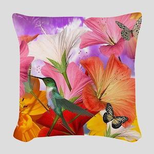 Hibiscus Butterflies Woven Throw Pillow