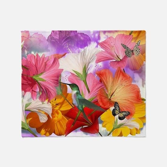 Hibiscus Butterflies Throw Blanket