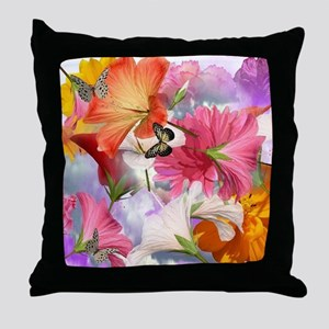 Hibiscus Butterflies Throw Pillow