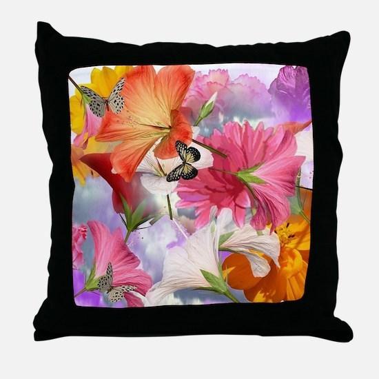 Hibiscus Butterflies Throw Pillow