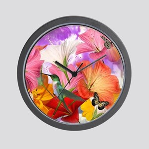 Hibiscus Butterflies Wall Clock