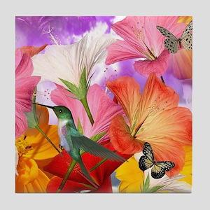 Hibiscus Butterflies Tile Coaster