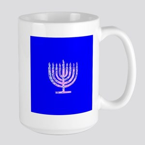 Blue Chanukah Menorah Glowing Mugs