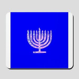 Blue Chanukah Menorah Glowing Mousepad