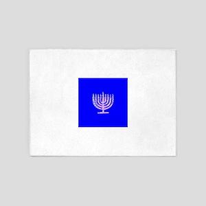 Blue Chanukah Menorah Glowing 5'x7'Area Rug