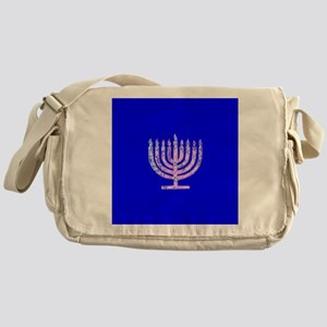 Blue Chanukah Menorah Glowing Messenger Bag