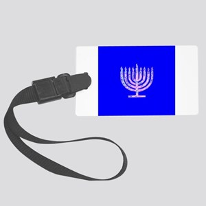 Blue Chanukah Menorah Glowing Large Luggage Tag