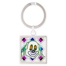 8 Ball Billiard Clown Square Keychain