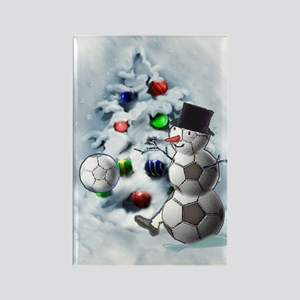 Soccer Ball Snowman Christmas Rectangle Magnet