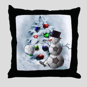 Soccer Ball Snowman Christmas Throw Pillow