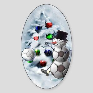 Soccer Ball Snowman Christmas Sticker (Oval)