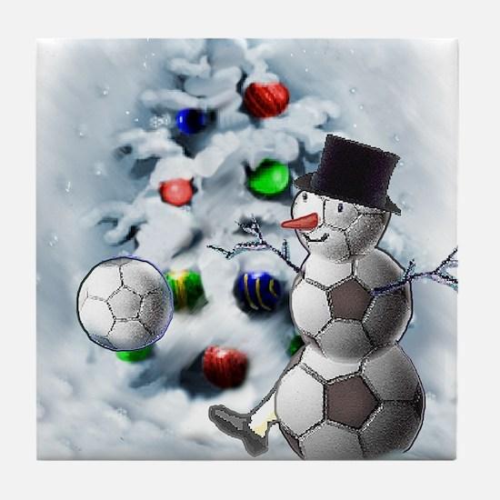 Soccer Ball Snowman Christmas Tile Coaster