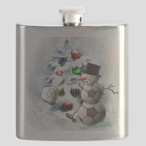 Soccer Ball Snowman Christmas Flask