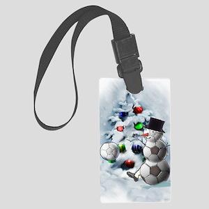Soccer Ball Snowman Christmas Large Luggage Tag