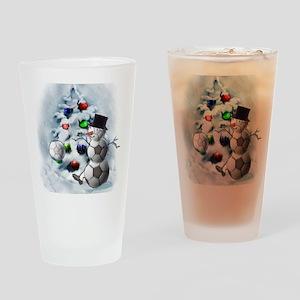 Soccer Ball Snowman Christmas Drinking Glass
