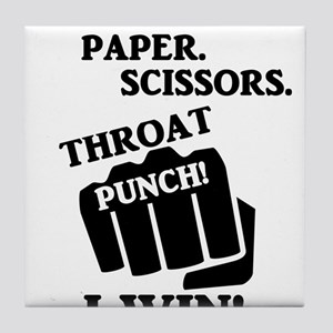 Rock, Paper, Scissors, Throat Punch! Tile Coaster