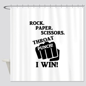 Rock, Paper, Scissors, Throat Punch Shower Curtain