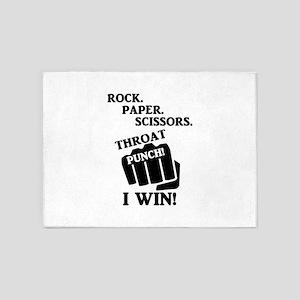 Rock, Paper, Scissors, Throat Punch 5'x7'Area Rug