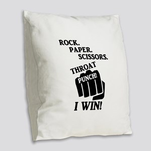 Rock, Paper, Scissors, Throat Burlap Throw Pillow