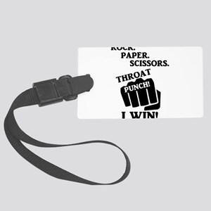 Rock, Paper, Scissors, Throat Pu Large Luggage Tag