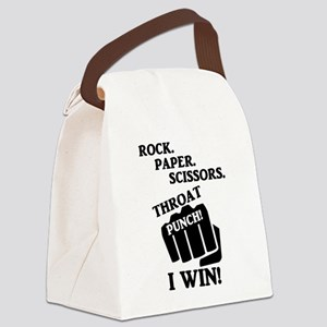 Rock, Paper, Scissors, Throat Pun Canvas Lunch Bag
