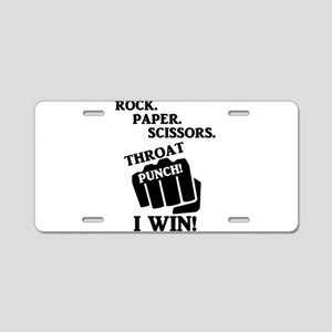 Rock, Paper, Scissors, Thro Aluminum License Plate