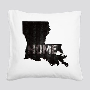 Louisiana Home Black and Whit Square Canvas Pillow