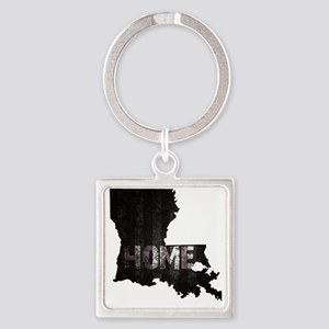 Louisiana Home Black and White Square Keychain