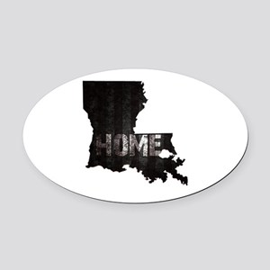 Louisiana Home Black and White Oval Car Magnet