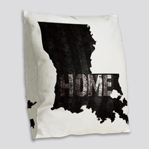 Louisiana Home Black and White Burlap Throw Pillow