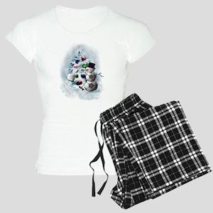 Soccer Ball Snowman Christm Women's Light Pajamas
