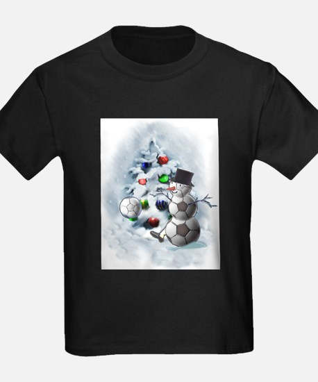 Soccer Ball Snowman Christmas T-Shirt