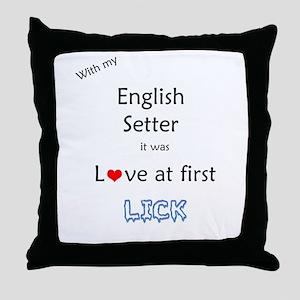 English Setter Lick Throw Pillow