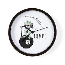 8 Ball Billiard Frog Cartoon Wall Clock