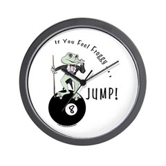 8 Ball Billiard Frog Cartoon Wall Clock