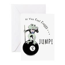 8 Ball Billiard Frog Car Greeting Cards (Pk of 10)
