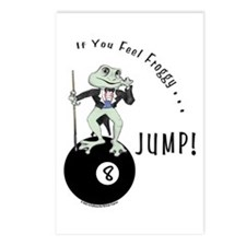 8 Ball Billiard Frog Cart Postcards (Package of 8)