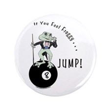 8 Ball Billiard Frog Cartoon Button