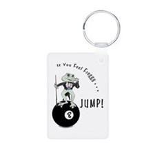 8 Ball Billiard Frog Carto Aluminum Photo Keychain